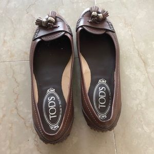 TOD'S Leather Flats with Tassels